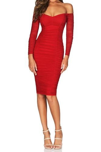 Nookie Romee Ruched Off Shoulder Long Sleeve Midi Dress in Red