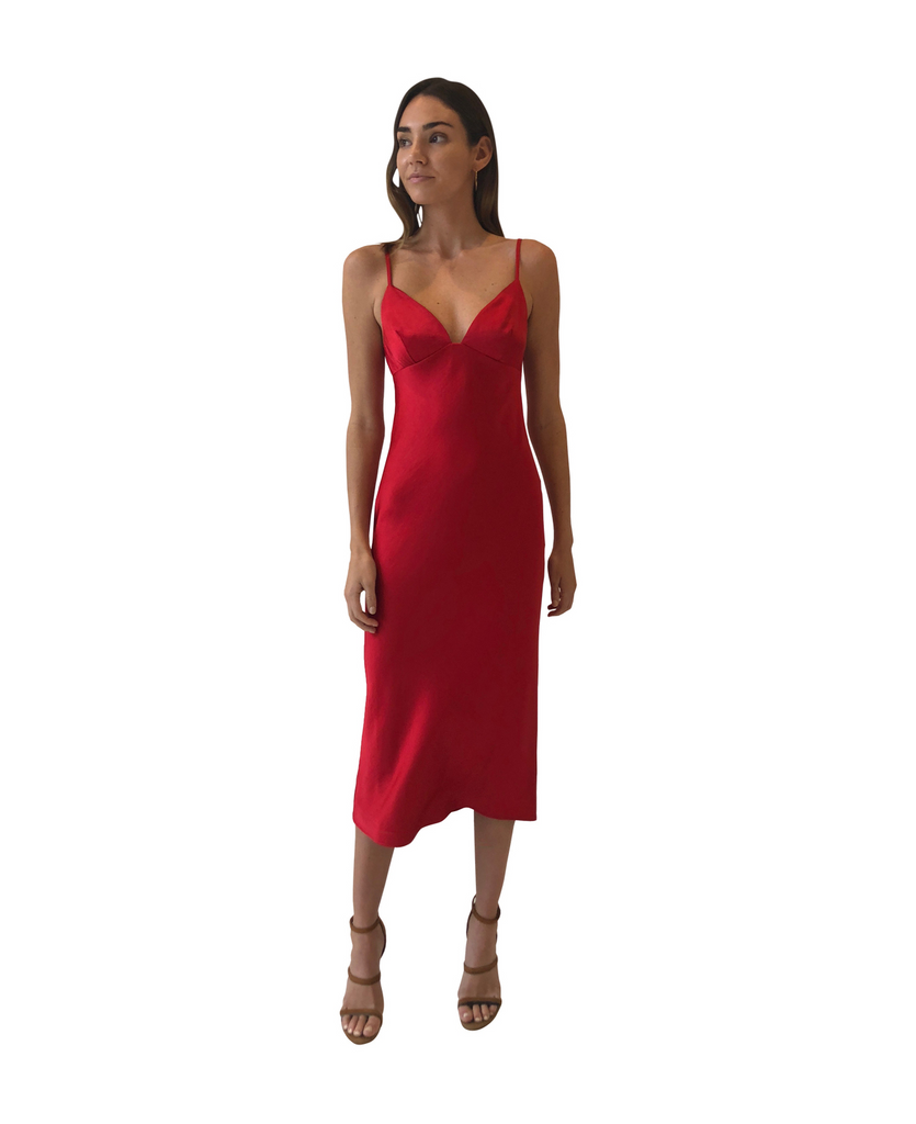 Shona Joy Adonis Bias Slip Midi in Ruby