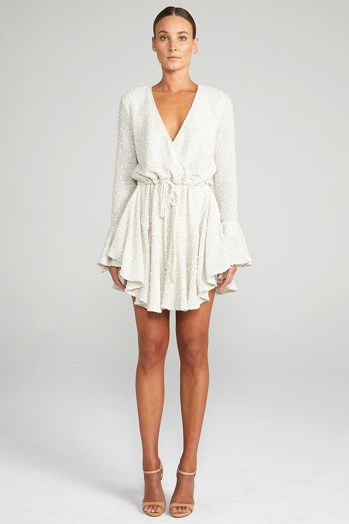 Shona Joy Aimee Frill Cuff Mini Dress Cream