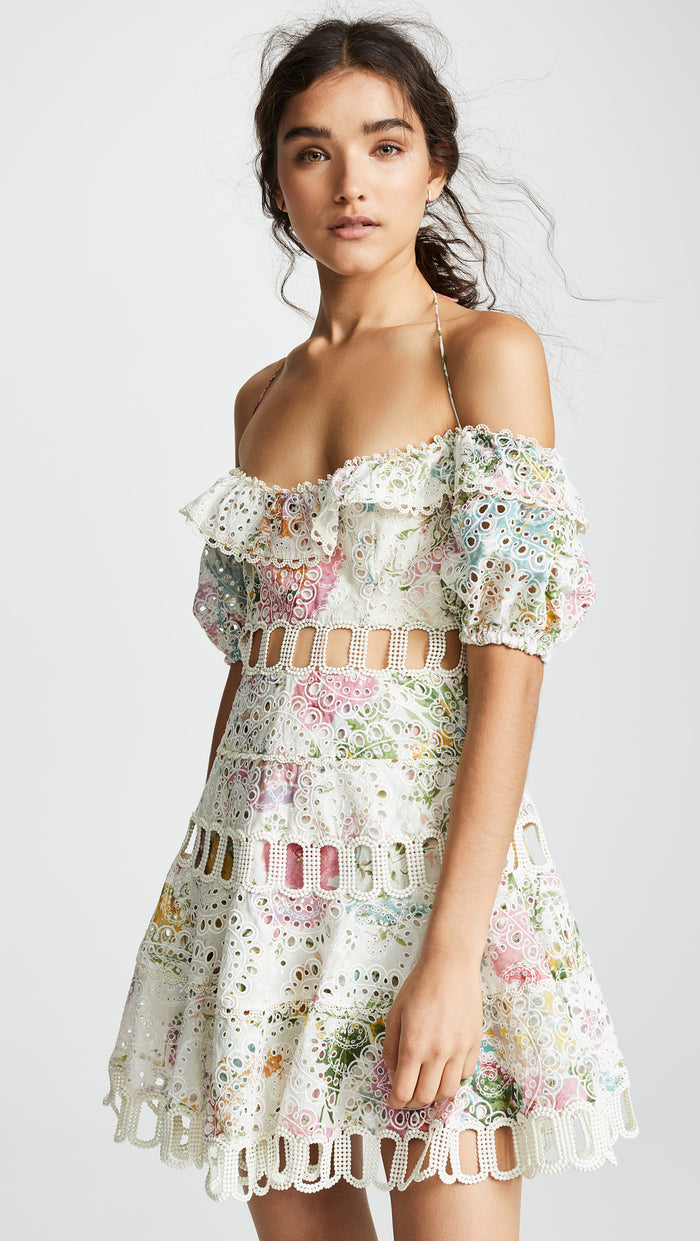 Zimmermann Heathers Off Shoulder Dress in Garden Floral