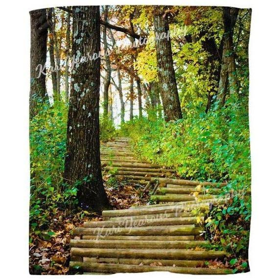 Blanket Fleece 50x60 Garvin Heights Stairway Winona Minnesota - Kari Yearous Photography KetoLaughs