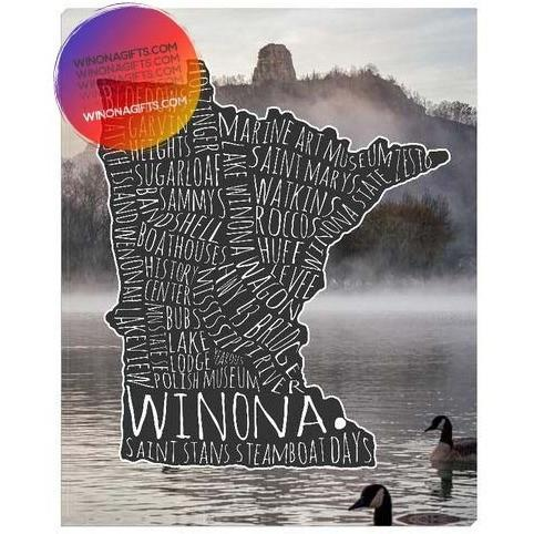 Winona MN Canvas Wrap Typography Map With Sugarloaf Geese, 8x10, Heavy Traffic