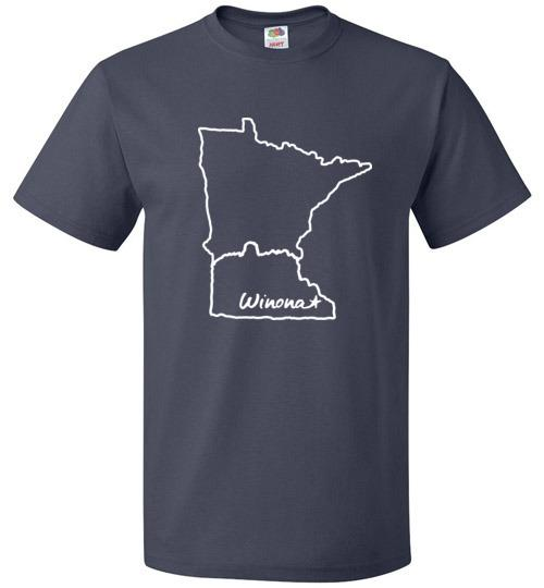 Winona Minnesota Kids T-Shirt, MN Outline with Sugarloaf - Kari Yearous Photography WinonaGifts KetoGifts LoveDecorah