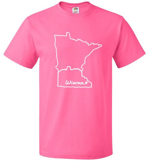Winona Minnesota Kids T-Shirt, MN Outline with Sugarloaf