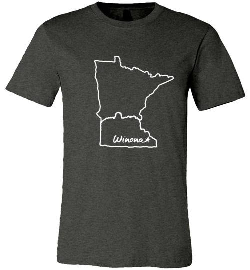 Winona Minnesota Kids T-Shirt, Sugarloaf in MN Outline, Canvas Unisex Tee