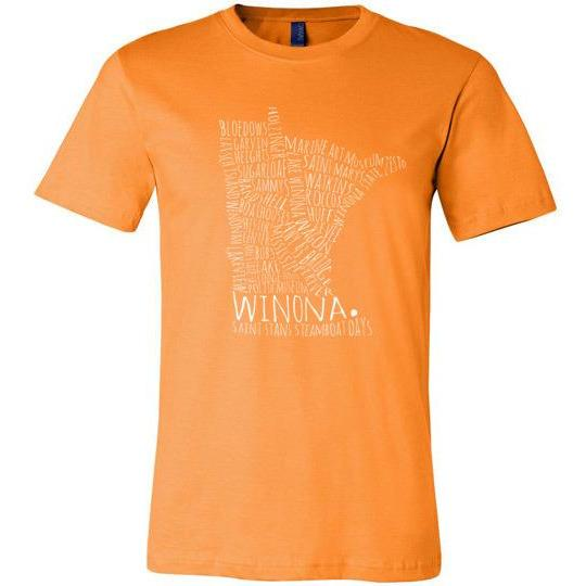 Winona Minnesota T-Shirt Typography Map, White Text, Additional Colors - Kari Yearous Photography KetoLaughs