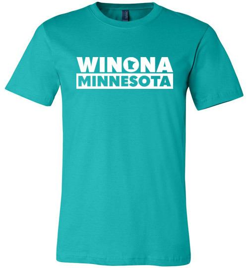 Winona Minnesota T-Shirt, State in O Design, Canvas Unisex - Kari Yearous Photography WinonaGifts KetoGifts LoveDecorah