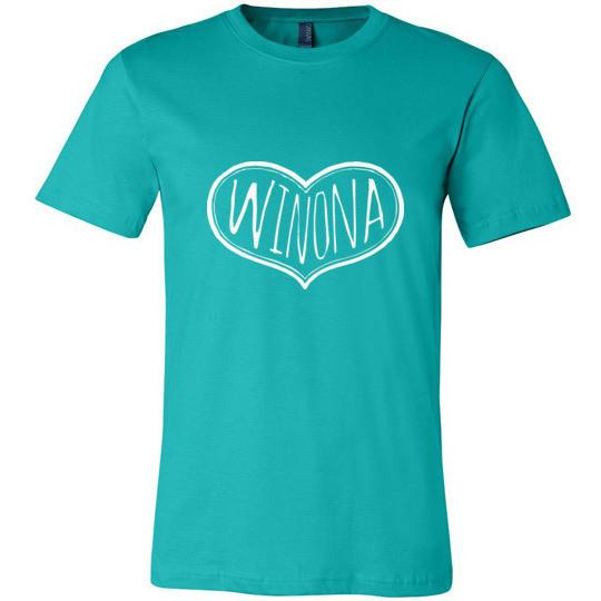 Winona Minnesota T-Shirt Text Heart, Light On Dark