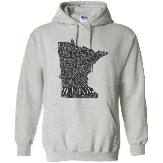 Winona MN Hooded Sweatshirt Typography Map, Gildan Heavy Blend - Kari Yearous Photography WinonaGifts KetoGifts LoveDecorah