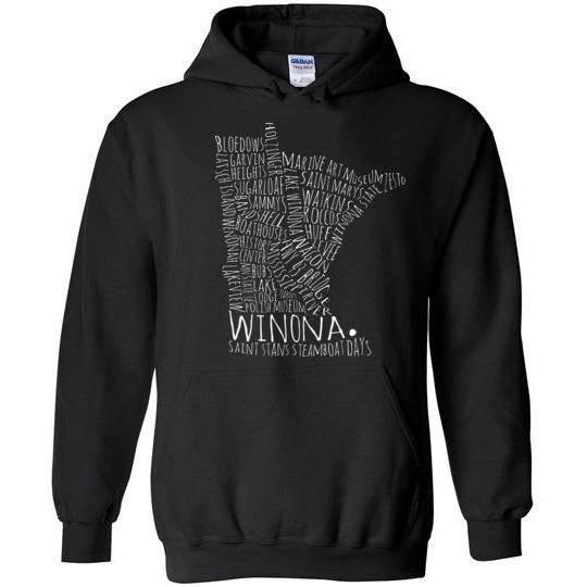 Winona Minnesota Kids Hoodie Sweatshirt Typography Map White on Dark - Kari Yearous Photography WinonaGifts KetoGifts LoveDecorah