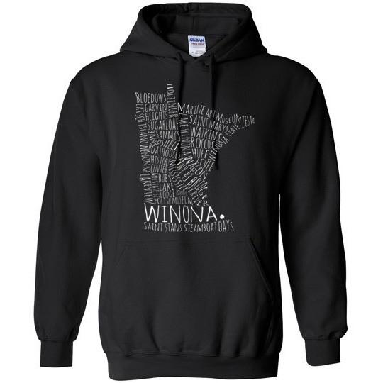 Winona Minnesota Hooded Sweatshirt Typography Map Shirt - Kari Yearous Photography WinonaGifts KetoGifts LoveDecorah