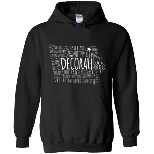 Decorah Hooded Sweatshirt Typography Map, Light Text on Dark - Kari Yearous Photography WinonaGifts KetoGifts LoveDecorah