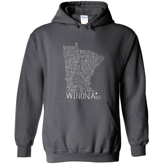 Winona School Spirit Hooded Sweatshirt, White Text - Kari Yearous Photography WinonaGifts KetoGifts LoveDecorah