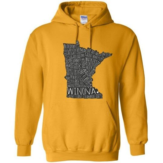 Winona Typography Map Hooded Sweatshirt, Version II