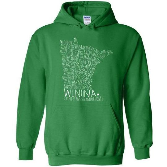 Winona Hooded Sweatshirt Typography Map Text Only, Greens and Blues - Kari Yearous Photography WinonaGifts KetoGifts LoveDecorah