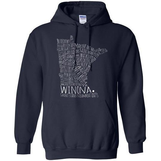 Winona Minnesota Hooded Sweatshirt Typography Map Shirt
