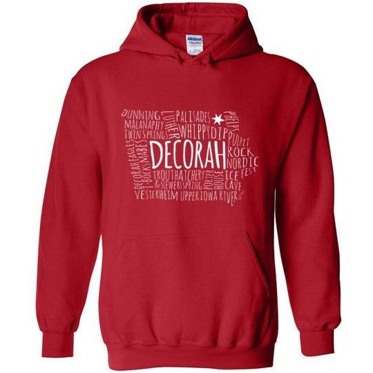 Decorah Hooded Sweatshirt Typography Map, Light Text on Dark - Kari Yearous Photography KetoLaughs