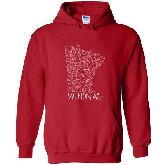 Winona School Spirit Hooded Sweatshirt, White Text