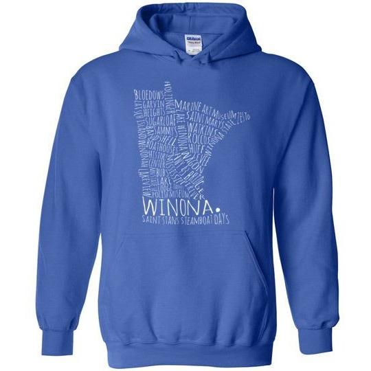 Winona Hooded Sweatshirt Typography Map Text Only, Greens and Blues