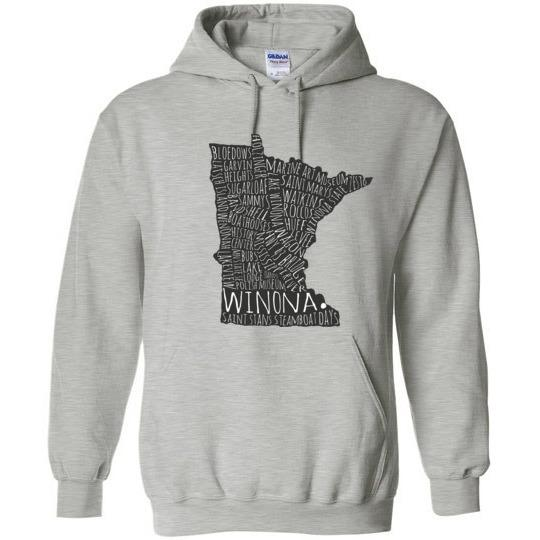 Winona Typography Map Hooded Sweatshirt, Version II - Kari Yearous Photography WinonaGifts KetoGifts LoveDecorah