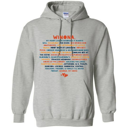 Winona Sweatshirt My Heart Lies In Winona, Public Schools, Bold Colors - Kari Yearous Photography WinonaGifts KetoGifts LoveDecorah