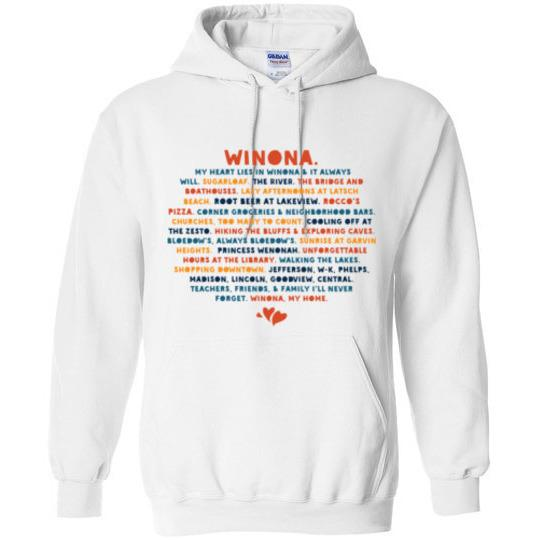 Winona Sweatshirt My Heart Lies In Winona, Public Schools, Bold Colors