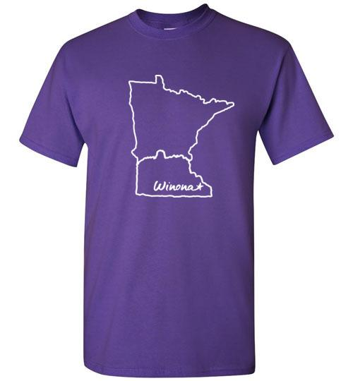 Winona Minn Kids T-Shirt, Sugarloaf in MN Outline, Gildan Tee