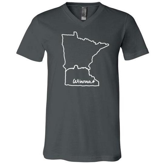 Winona Minnesota Shirt State Outline with Sugarloaf