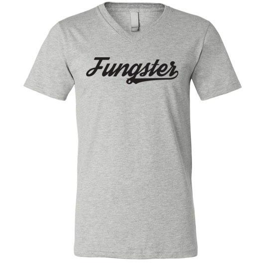 Fasting Fungster T-Shirt, Black on Light, Canvas Unisex V-Neck