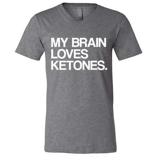 Keto T-Shirt My Brain Loves Ketones, Canvas Unisex V-Neck - Kari Yearous Photography WinonaGifts KetoGifts LoveDecorah