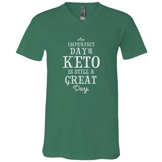 Keto T-Shirt Imperfect Day of Keto, Canvas Unisex V-Neck