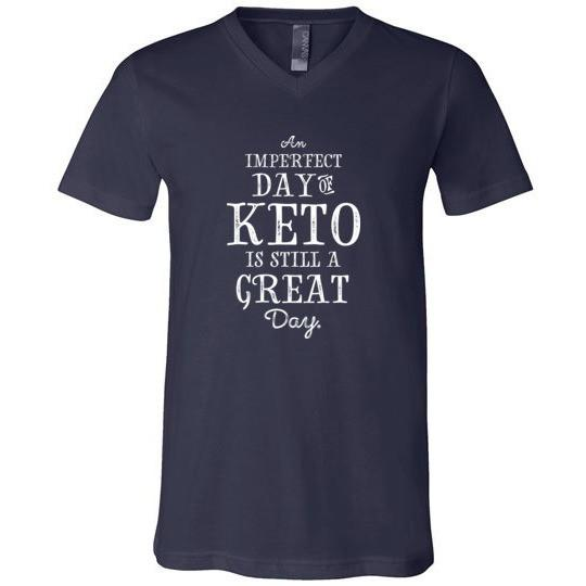 Keto T-Shirt Imperfect Day of Keto, Canvas Unisex V-Neck - Kari Yearous Photography KetoLaughs