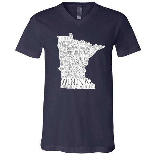 Winona T-Shirt White Typography Map, Canvas Unisex V-Neck Shirt - Kari Yearous Photography WinonaGifts KetoGifts LoveDecorah