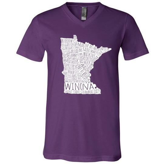 Winona T-Shirt White Typography Map, Canvas Unisex V-Neck Shirt