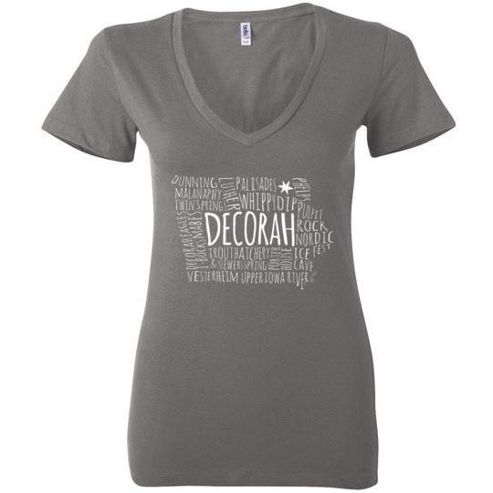 Decorah Iowa Typography Map Ladies Deep V-Neck Shirt