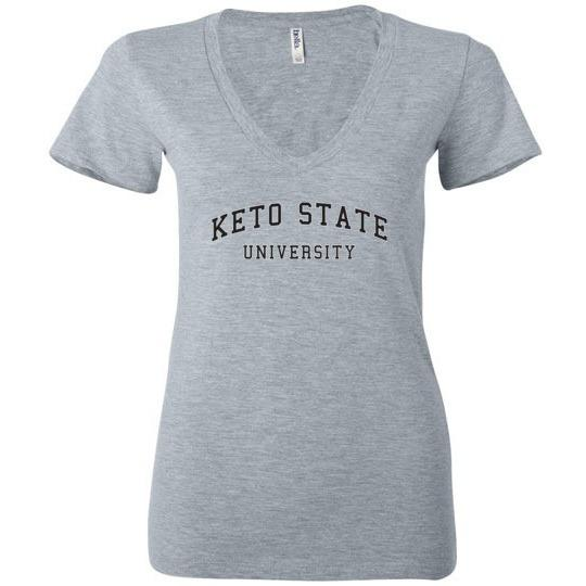 Women's Keto T-Shirt, Keto State University, Bella Ladies Deep V-Neck