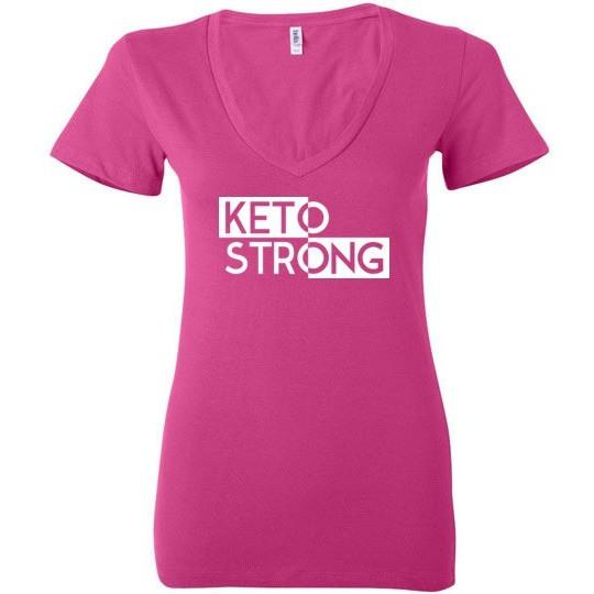 Ladies Keto T-Shirt, Keto Strong, Bella Ladies Deep V-Neck - Kari Yearous Photography WinonaGifts KetoGifts LoveDecorah