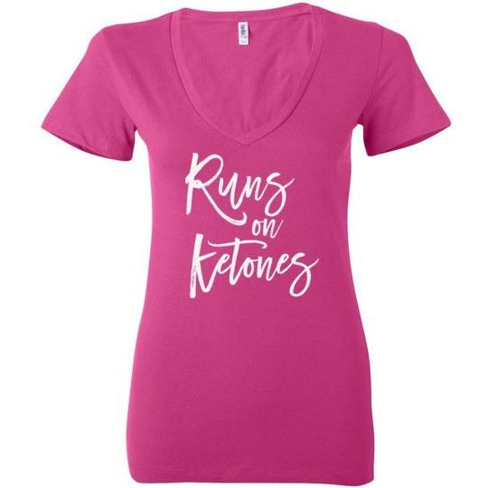 Ladies Keto T-Shirt Runs On Ketones, Light on Dark