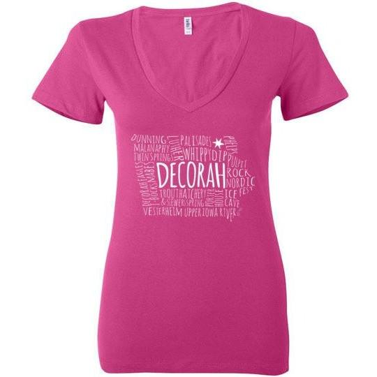 Decorah Iowa Ladies Deep V-Neck T-Shirt Luther College Dunning Springs Trout Hatchery Whippy Dip