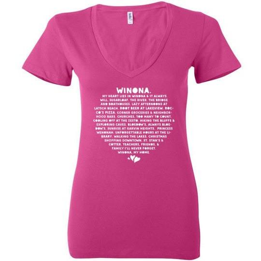 Winona Ladies Deep V-Neck Shirt, Heart Lies In Winona St Stans & Cotter - Kari Yearous Photography WinonaGifts KetoGifts LoveDecorah