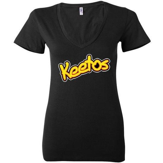 Funny Keto T-Shirt Keetos, Bella Ladies Deep V-Neck - Kari Yearous Photography KetoLaughs