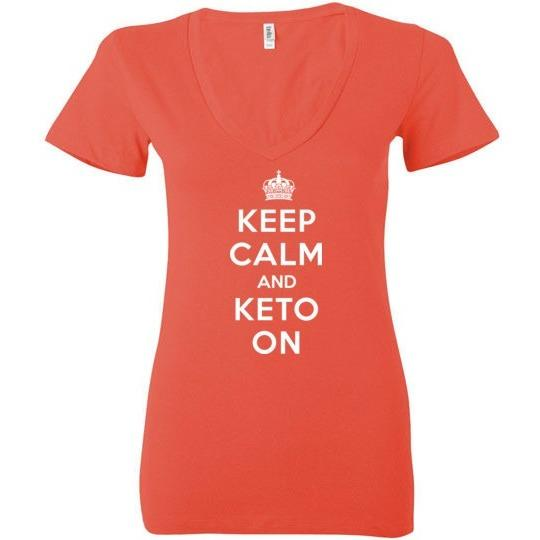 Women's Keto T-Shirt Keep Calm And Keto On, Bella Deep V-Neck