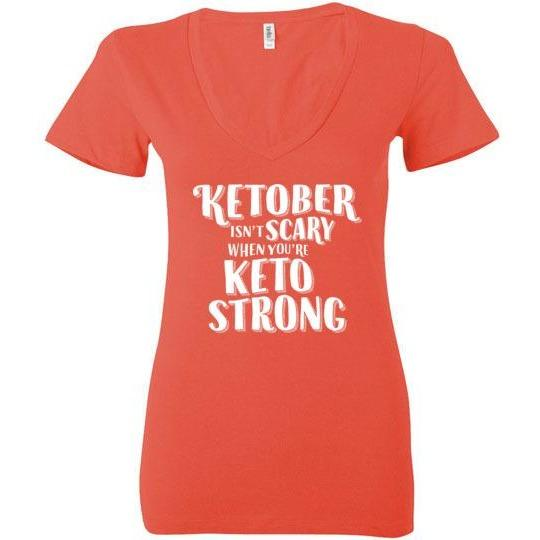 funny women's keto shirt ketober isn't scary