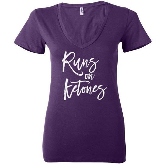 Ladies Keto T-Shirt Runs On Ketones, Light on Dark - Kari Yearous Photography KetoLaughs