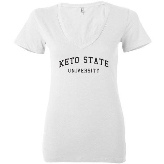 Women's Keto T-Shirt, Keto State University, Bella Ladies Deep V-Neck - Kari Yearous Photography WinonaGifts KetoGifts LoveDecorah