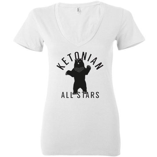 Ladies Keto T-Shirt, Ketonian All Stars Standing Bear, Bella Ladies Deep V-Neck