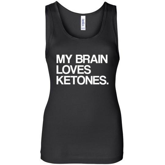Keto Tank Top My Brain Loves Ketones, Bella Wide Strap Tank