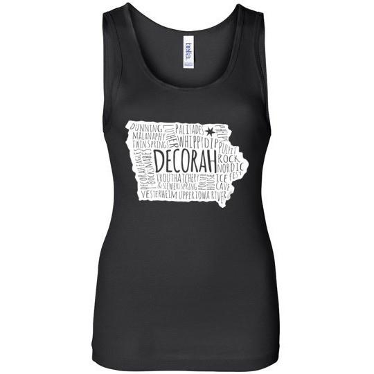 Decorah Iowa Shirt Wide Strap Tank Top, Typography Map - Kari Yearous Photography WinonaGifts KetoGifts LoveDecorah