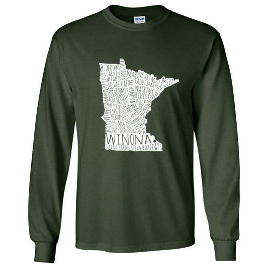 Winona Long-Sleeve Shirt White Typography Map, Greens - Kari Yearous Photography WinonaGifts KetoGifts LoveDecorah