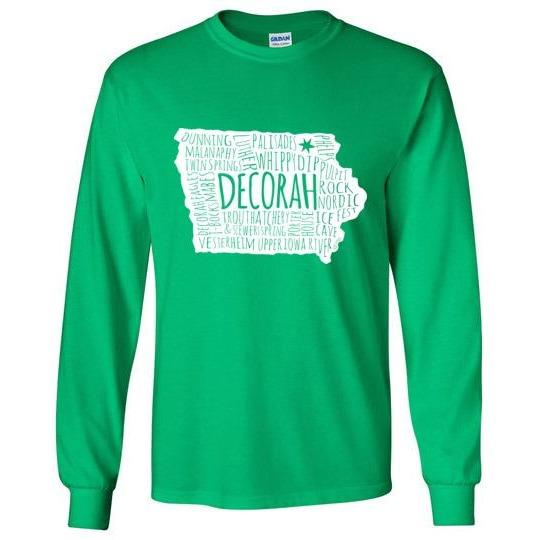 Decorah Iowa Long-Sleeve T-Shirt, White Typography Map - Kari Yearous Photography WinonaGifts KetoGifts LoveDecorah